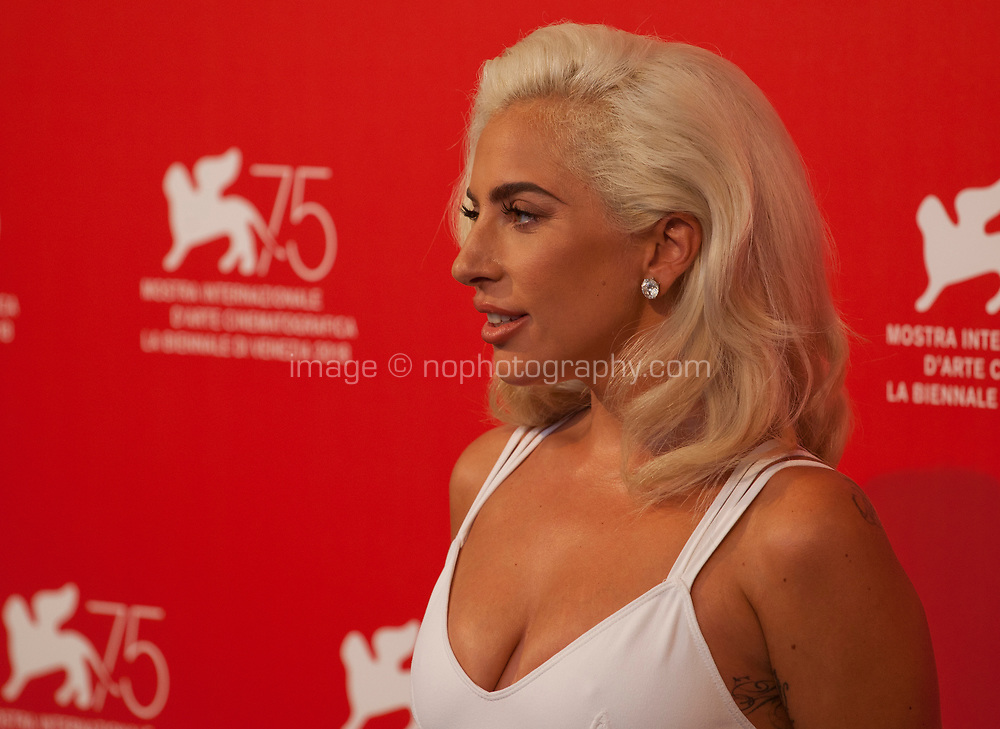 Actress and singer Lady Gaga at the photocall for the film A Star is Born at the 75th Venice Film Festival, on Friday 31st August 2018, Venice Lido, Italy.