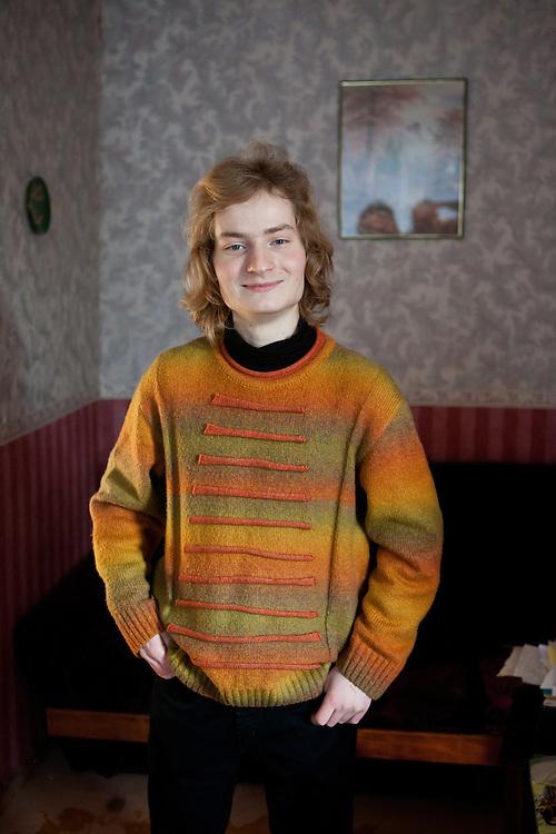 Portrait of Alex in the flat of his grandma at the city of Vladivostok in Russia. Vladivostok, Russian Federation, Russia, RUS, 12.01.2010.