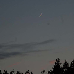 Crescent Moon at Dusk over Orcas Island, San Juan Islands, Washington, US