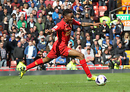 Raheem Sterling of Liverpool in action against Newcastle United during the Barclays Premier League match at Anfield, Liverpool.<br /> Picture by Michael Sedgwick/Focus Images Ltd +44 7900 363072<br /> 11/05/2014