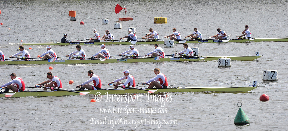 Essen, GERMANY.  GBR M8+ winners of Sundays Eights Race, Tom RANSLEY, Dan RITCHIE, Matthew GOTTREL, Will SATCH, Alex GREGORY, Mohamed SBIHI, Peter REED, Andrew TRIGGS HODGE and Phelan HILL (cox). International Hugelregatta, Baldeneysee, Sunday  12/05/2013   [Mandatory Credit. Peter Spurrier/Intersport Images]