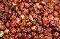 UAE, Dubai, dried whole red peppers for sale at the spice souq in Deira
