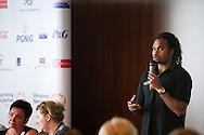 (R) Christian Karembeu - Special Olympics Ambassador  former French soccer player and current scout for Arsenal Football Club while Athletes Leadership Program Workshop on Unified Sports Conference at Novotel Hotel during the 2013 Special Olympics European Unified Football Tournament in Warsaw, Poland.<br /> <br /> Poland, Warsaw, June 07, 2012<br /> <br /> Picture also available in RAW (NEF) or TIFF format on special request.<br /> <br /> For editorial use only. Any commercial or promotional use requires permission.<br /> <br /> <br /> Mandatory credit:<br /> Photo by © Adam Nurkiewicz / Mediasport