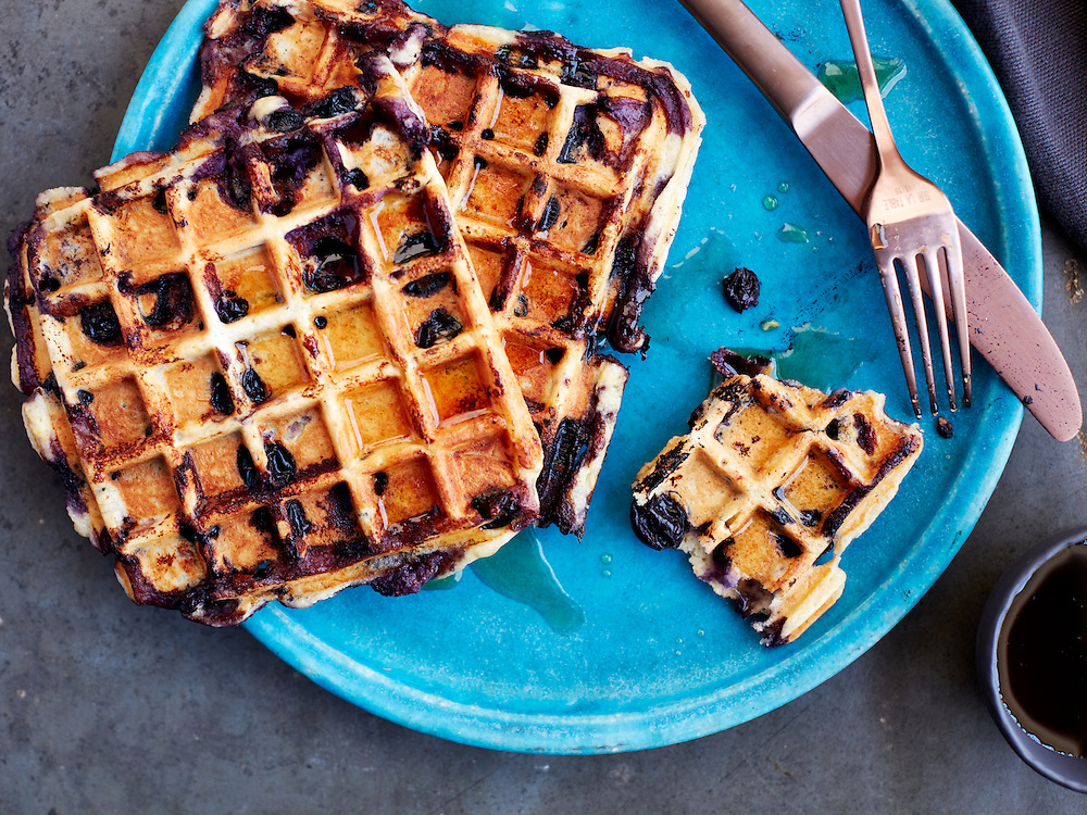 Blueberry Waffles with Maple Syrup
