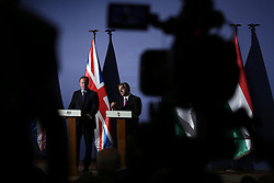 © Licensed to London News Pictures. 07/01/2016. Budapest, Hungary. British Prime Minister DAVID CAMERON and Hungarian PM Viktor Orban at a press conference at the Hungarian Parliament on 7th of January, 2016. Photo credit : Gabriel Szabo/LNP