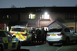 © Licensed to London News Pictures. 07/04/2019. Salford, UK. Armed police carry out a raid at an address on Rattenbury Court off Saxby Street, Irlams o'th' Height, following reports of a gun being seen. It turned out it was someone putting a bird in a pet carrier case. Photo credit : Joel Goodman/LNP