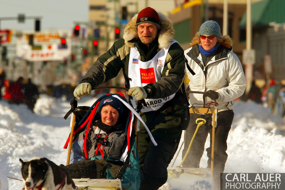 3/3/2007:  Anchorage Alaska -  Veteran Dave Tresino of Talkeetna, AK heads out during the Ceremonial Start of the 35th Iditarod Sled Dog Race
