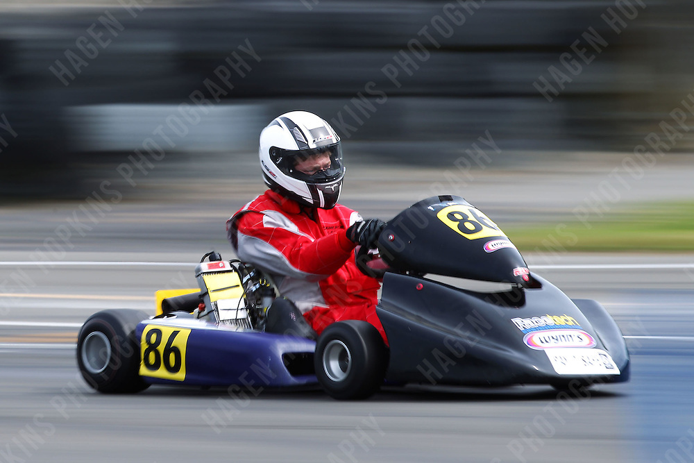 Cameron Lacey, 86, races in the Rotax Light class during the 2012 Superkart National Champs and Grand Prix at Manfeild in Feilding, New Zealand on Saturday, 7 January 2011. Credit: Hagen Hopkins.