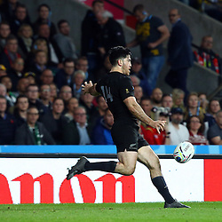 LONDON, ENGLAND - OCTOBER 31: Nehe Milner-Skudder of New Zealand during the Rugby World Cup Final match between New Zealand vs Australia Final, Twickenham, London on October 31, 2015 in London, England. (Photo by Steve Haag)
