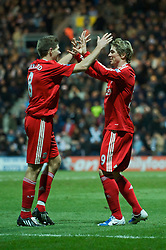 PRESTON, ENGLAND - Saturday, January 3, 2009: Liverpool's captain Steven Gerrard MBE and Fernando Torres celebrate Fernando Torres's late goal against Preston North End during the FA Cup 3rd Round match at Deepdale. (Photo by David Rawcliffe/Propaganda)