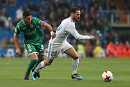 MADRID, SPAIN. January 24, 2018 - Isco with the ball against Gabriel Pires. Real Madrid pushed right to the end but were ultimately unable to get the better of Leganés, who scored twice, once in either half, to knock the Whites out of the Copa del Rey. . Photos by Antonio Pozo | PHOTO MEDIA EXPRESS
