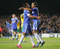23.11.2010, Stamford Bridge, London, ENG, UEFA CL, Chelsea FC vs MSK Zilina, im Bild Chelsea's goalscorer Florent Malouda celebrates with Chelsea's Didier Drogba,  UEFA Champions League Group Stage, Chelsea v MSK Zalina, 23/11/2010. EXPA Pictures © 2010, PhotoCredit: EXPA/ IPS/ Mark Greenwood +++++ ATTENTION - OUT OF ENGLAND/UK and FRANCE/FR +++++