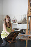 Artist drawing in studio