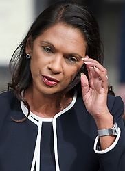 © Licensed to London News Pictures. 06/09/2019. London, UK. GINA MILLER is seen speaking to media at the The Royal Courts of Justice in London after a ruling on a judicial review of Boris Johnson's planned suspension of Parliament. The case has been brought by remain campaigner Gina Miller, with support from former British Prime Minister John Major. Photo credit: Ben Cawthra/LNP