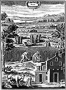 Harvest time. Men and women reaping with sickles, corn being tied up in sheaves and stood in stooks to dry.  From 'La Nouvelle Maison Rustique', 8th edition. Paris 1762. Engraving.