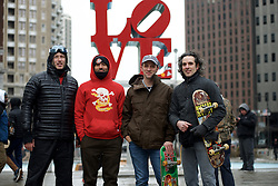 Russell Palermo, Vernon 'Vern' Liard, Jim Franchetti, and Scott Pesiridis stand in front of Robert Indiana's Love Statue during a Feb. 13, 2016 farewell event ahead of the scheduled demolition and redevelopment of the iconic LOVE Park in center City Philadelphia, PA.