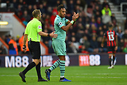 Substitution - Pierre-Emerick Aubameyang (14) of Arsenal turns to the fans applauds their support as he is subsituted after he scored what was the winning goal during the Premier League match between Bournemouth and Arsenal at the Vitality Stadium, Bournemouth, England on 25 November 2018.