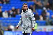 Chelsea assistant manager Gianfranco Zola overseeing the warm up before the Premier League match between Cardiff City and Chelsea at the Cardiff City Stadium, Cardiff, Wales on 31 March 2019.