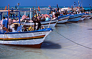 Tunisia; Djerba.Fishing vessels on the eastern coast.