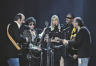 Peter, Paul and Mary, Bob Dylan, and Stevie Wonder  perform at the Martin Luther King Jr Gala at the Kennedy Center for the Performing Arts in February 1986..Photograph by Dennis Brack bb32