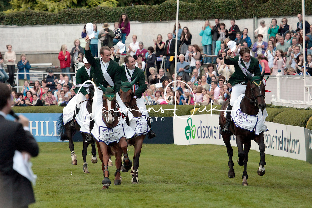 Team Ireland: <br /> McMahon Clem - Pacino<br /> Moloney Richard - Ahorn vd Zuuthoeve<br /> Kerins Darragh - Lisona<br /> O' Connor Cian - Blue Loyd<br /> Dublin Horse Show 2012<br /> © Hippo Foto - Beatrice Scudo