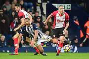 West Bromwich Albion striker Saloman Rondon (9) is fouled during the Premier League match between West Bromwich Albion and Southampton at The Hawthorns, West Bromwich, England on 3 February 2018. Picture by Dennis Goodwin.