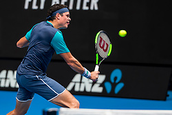January 17, 2019 - Melbourne, VIC, U.S. - MELBOURNE, AUSTRALIA - JANUARY 17 : Milos Raonic of ÊCanada returns the ball during day 4 of the Australian Open on January 17 2019, at Melbourne Park in Melbourne, Australia.(Photo by Jason Heidrich/Icon Sportswire) (Credit Image: © Jason Heidrich/Icon SMI via ZUMA Press)