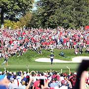 Ryder Cup 2016. Day Three. Rickie Fowler of the United States celebrates after winning the sixteenth hole and taking the lead against Justin Rose of Europe during the Sunday singles competition at  the Ryder Cup tournament at Hazeltine National Golf Club on October 02, 2016 in Chaska, Minnesota.  (Photo by Tim Clayton/Corbis via Getty Images)