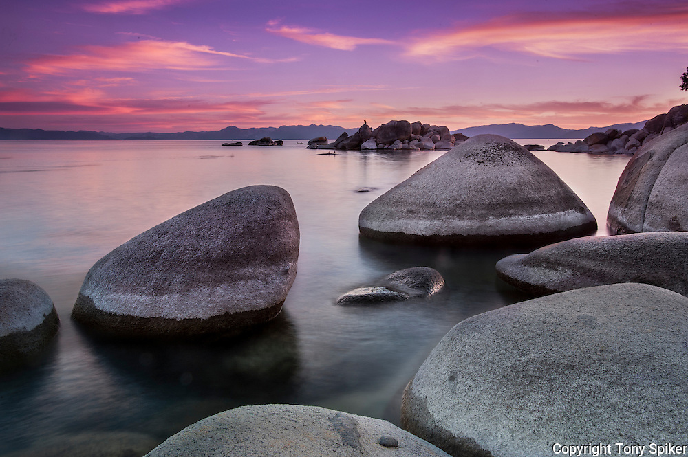 """Speedboat Beach Sunset 6"" - This photograph was taken at sunset on the North Shore of Lake Tahoe at Speedboat Beach"