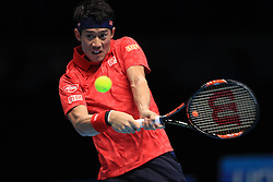 Kei Nishikori during his match against Marin Cilic during day six of the Barclays ATP World Tour Finals at The O2, London. PRESS ASSOCIATION Photo. Picture date: Friday November 18, 2016. See PA story TENNIS London. Photo credit should read: Adam Davy/PA Wire. RESTRICTIONS: Editorial use only, No commercial use without prior permission