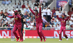 West Indies Sheldon Cottrell appeals for the wicket of New Zealand's Martin Guptill during the ICC Cricket World Cup group stage match at Old Trafford, Manchester.