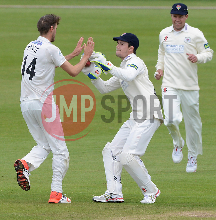 Gareth Roderick of Gloucestershire celebrates with David Payne as he catches out Sam Billings of Kent - Photo mandatory by-line: Dougie Allward/JMP - Mobile: 07966 386802 - 19/05/2015 - SPORT - Cricket - Bristol - County Ground - Gloucestershire v Kent - LV=County Cricket Division 2