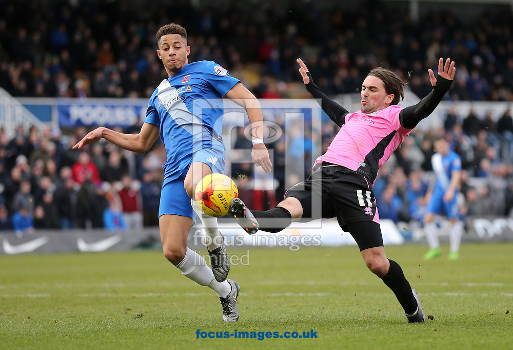 Jake Carroll (l) of Hartlepool United and Ricky Holmes of Northampton Town during the Sky Bet League 2 match at Victoria Park, Hartlepool<br /> Picture by Simon Moore/Focus Images Ltd 07807 671782<br /> 27/02/2016