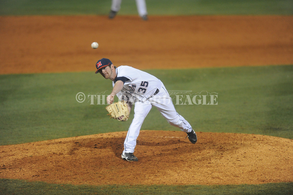 Ole Miss' Jeremy Massie (35) pitches vs. Lipscomb at Oxford-University Stadium in Oxford, Miss. on Friday, March 8, 2013. Ole Miss won 10-1.