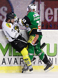 29.01.2013, Hala Tivoli, Ljubljana, SLO, EBEL, HDD Olimpija Ljubljana vs Dornbirner Eishockey Club, 4. Qualifikationsrunde, im Bild Damjan Dervaric (HDD Olimpija, #23) hits Nicolas Petrik (Dornbirner Eishockey Club, #12) // during the Erste Bank Icehockey League 4th Qualification Round match between HDD Telemach Olimpija Ljubljana and Dornbirner Eishockey Club at the Hala Tivoli, Ljubljana, Slovenia on 2013/01/29. EXPA Pictures © 2013, PhotoCredit: EXPA/ Sportida/ Matic Klansek Velej..***** ATTENTION - OUT OF SLO *****
