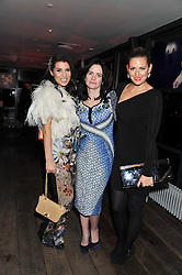 Left to right, GRACE WOODWARD, EILIDH MacASKILL Editor of InStyle and OLIVIA LEE at the InStyle Best of British Talent Event in association with Lancôme and Charles Worthington held at The Rooftop Restaurant, Shoreditch House, Ebor Street, E1 on 26th January 2012.