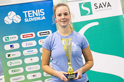 Winners Tina Cvetkovic  posing at trophy ceremony after final match during Slovenian National Tennis Championship 2019, on December 21, 2019 in Medvode, Slovenia. Photo by Vid Ponikvar/ Sportida