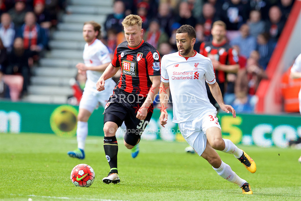 BOURNEMOUTH, ENGLAND - Sunday, April 17, 2016: Liverpool's Kevin Stewart in action against Bournemouth's Matt Ritchie during the FA Premier League match at Dean Court. (Pic by David Rawcliffe/Propaganda)