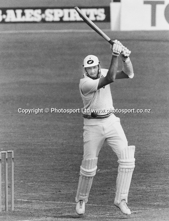 Captain Jeremy Coney bats for NZ, New Zealand International Cricket.  Date Unknown, Cricket Archival. Norman Smith/PHOTOSPORT