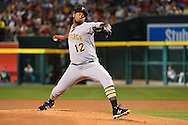 Apr 23, 2016; Phoenix, AZ, USA; Pittsburgh Pirates starting pitcher Juan Nicasio (12) delivers a pitch against the Arizona Diamondbacks in the first inning at Chase Field. Mandatory Credit: Jennifer Stewart-USA TODAY Sports