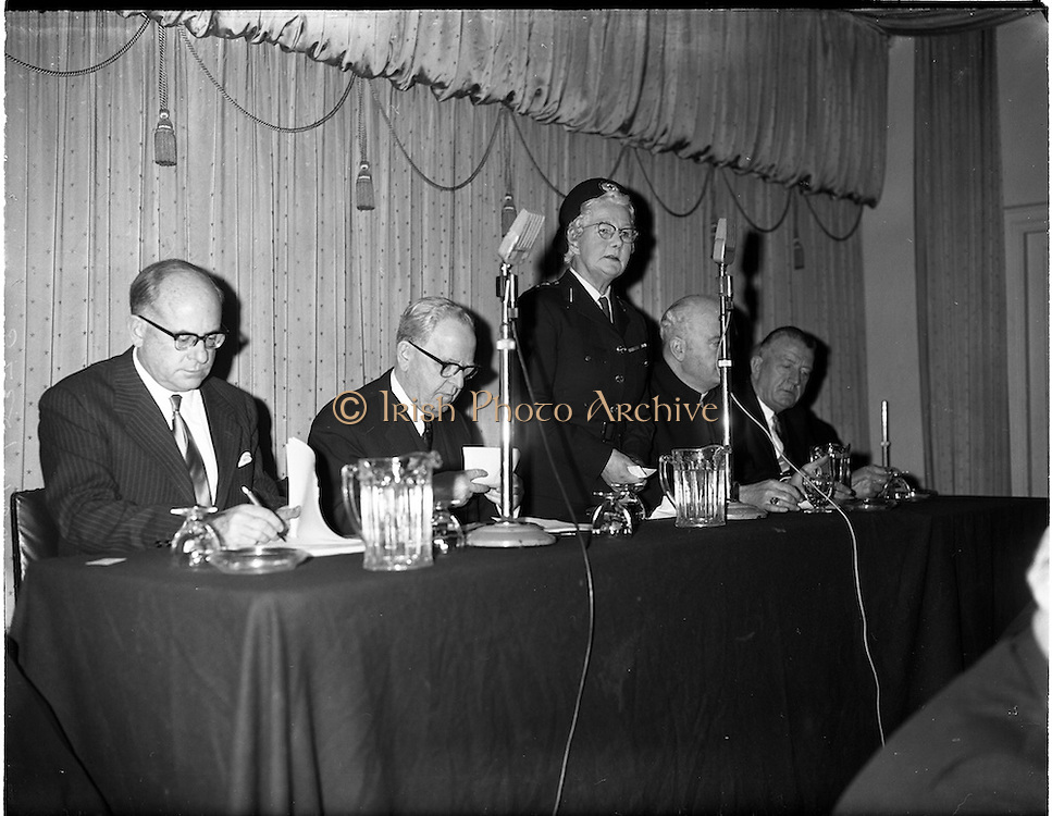 """18/01/1962.01/18/1962.18 January 1962.Launching of Freedom from Hunger Campaign.A """"freedom from Hunger"""" campaign, was officially launched at a meeting in the Gresham Hotel, Dublin, by the Irish Red Cross Society at the Governments request in response to a United Nations Appeal..Mrs Tom Barry, Chairman Irish Red Cross Society addresses the meeting. Also present are (l-r); Mr M. Viellet-Lavallee, Food and Agricultural Organisation of the U.N.; Tanaiste and Minister for Health, Mr. Sean McEntee; Most Rev. Dr. W. Conway, Bishop of Neve; and the Minister for Agriculture Mr. P. Smith T.D.."""