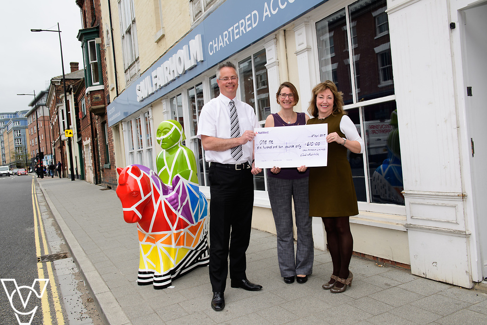Chartered accountants Saul Fairholm have presented one me, one of the companies charities of the year, with a cheque for &pound;610.  Pictured, from left, Saul Fairholm directors Richard Welsh and Sarah English and one me trustee Mel Holliday.<br /> <br /> Picture: Chris Vaughan Photography for one me<br /> Date: April 12, 2017