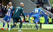 Inigo Calderon, Brighton defender scores his first goal during the Sky Bet Championship match between Brighton and Hove Albion and Birmingham City at the American Express Community Stadium, Brighton and Hove, England on 21 February 2015.