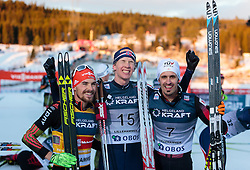 06.12.2015, Nordic Arena, NOR, FIS Weltcup Nordische Kombination, Lillehammer, Langlauf, im Bild v.l.: Fabian Riessle (GER), Magnus Krog (NOR), Lukas Klapfer (AUT) // Fabian Riessle of Germany, Magnus Krog of Norway, Lukas Klapfer of Austria during Cross Country Competition of FIS Nordic Combined World Cup at the Nordic Arena, Lillehammer, Norway on 2015/12/06. EXPA Pictures © 2015, PhotoCredit: EXPA/ JFK