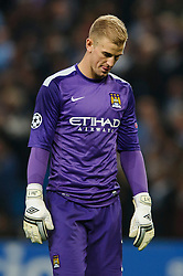 Man City Goalkeeper Joe Hart (ENG) looks dejected after his sides 3-1 loss in the match - Photo mandatory by-line: Rogan Thomson/JMP - Tel: Mobile: 07966 386802 - 02/10/2013 - SPORT - FOOTBALL - Etihad Stadium, Manchester - Manchester City v Bayern Munich - UEFA Champions League Group D.