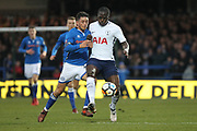 Ian Henderson challenges Moussa Sissoko during the The FA Cup match between Rochdale and Tottenham Hotspur at Spotland, Rochdale, England on 18 February 2018. Picture by Daniel Youngs.