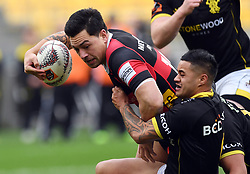 Canterbury's Rob Thompson, left, held by Wellington's Gemara Huaiti-Parapara in the Mitre 10 Rugby match at Westpac Stadium, Wellington, New Zealand, Sunday September 17,, 2017. Credit:SNPA / Ross Setford  **NO ARCHIVING**
