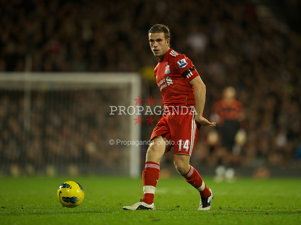 LONDON, ENGLAND - Monday, December 5, 2011: Liverpool's Jordan Henderson in action against Fulham during the Premiership match at Craven Cottage. (Pic by David Rawcliffe/Propaganda)