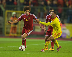 BRUSSELS, BELGIUM - Sunday, November 16, 2014: Wales' Hal Robson-Kanu and Belgium's Axel Witsel during the UEFA Euro 2016 Qualifying Group B game at the King Baudouin [Heysel] Stadium. (Pic by David Rawcliffe/Propaganda)