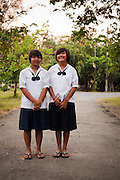 Tipp, age 16 (1.from left) and Mook, age 16  are both HIV positiv Teenager. .